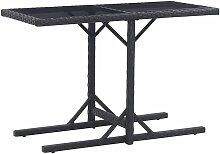 Table de jardin Noir 110x53x72 cm Verre et résine