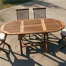 Table de jardin ovale en bois extensible LISERON