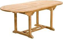 TABLE DE JARDIN OVALE EN TECK EXTENSIBLE 150/200