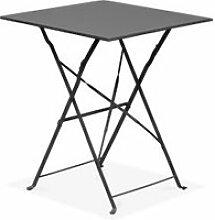 Table de jardin pliante bistrot 2 places acier gris