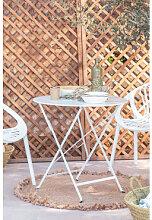 Table de jardin pliante en acier Dreh (Ø77 cm)
