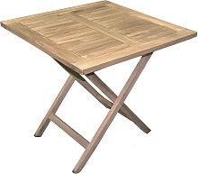 Table de jardin pliante forme carrée en bois teck