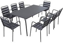 Table de jardin rectangulaire et 8 chaises avec