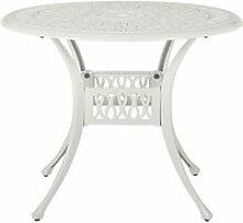 Table de jardin ronde ø 90 cm en aluminium blanc