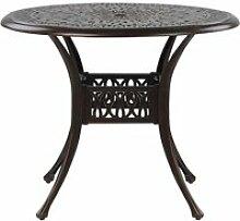 Table de jardin ronde ø 90 cm en aluminium marron
