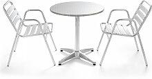 Table de jardin ronde avec 2 fauteuils en aluminium