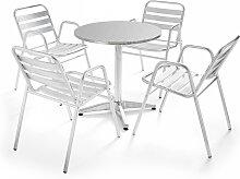Table de jardin ronde avec 4 fauteuils en aluminium