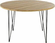 Table de jardin ronde en acacia massif et métal