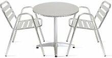 Table de jardin ronde en aluminium 2 places