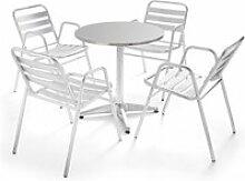 Table de jardin ronde en aluminium et 4 fauteuils