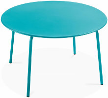 Table de jardin ronde en métal Palavas - Bleu -