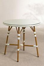 Table de jardin ronde en osier synthétique (Ø80