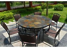 Table de jardin ronde mosaique d'ardoise