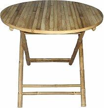 Table de jardin ronde pliante  bois clair