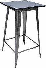 Table de Manger Noir 60x60x103 cm Pinède et Acier