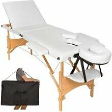 Table de massage blanche 3 zones avec sac de