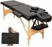 Table de massage noire 2 zones avec sac de
