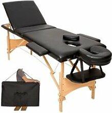 Table de massage noire 3 zones avec sac de