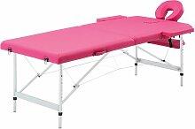 Table de massage pliable 2 zones Aluminium Rose