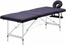 Table de massage pliable 4 zones Aluminium Violet