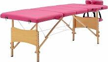 Table de massage pliable 4 zones Bois Rose