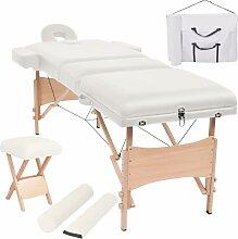Table de massage pliable et tabouret 10 cm