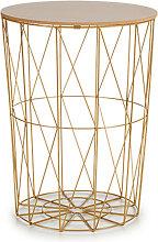 Table de Métal avec Plateau en bois - Jaune d or