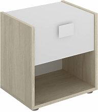 Table de nuit 1 tiroir naturel et blanc IberoDepot