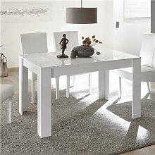 Table de repas blanc laqué design 180 cm ELMA