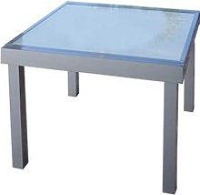 Table de repas carrée extensible Verre/Aluminium