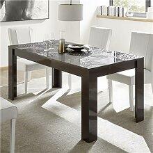 Table de repas gris laqué design 140 cm ELMA 2