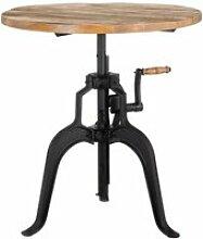 Table de repas ronde hauteur réglable bois/métal