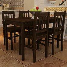 Table de salle à manger avec 4 chaises Marron