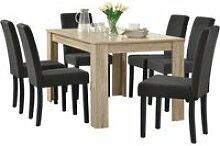 Table de salle à manger (chêne cérusé) + 6