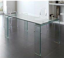 Table de salle à manger en verre design ICE-L 160