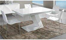 Table de salle à manger extensible blanc laqué