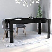 Table de salle à manger Noir brillant 160x80x76