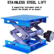Table élévatrice en aluminium, gravure sur bois,