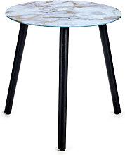 Table en cristal effet marbre Blanc et or