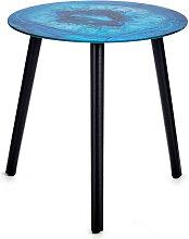 Table en cristal effet marbre turquoise