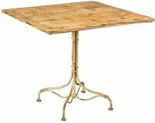 Table en fer forgé avec finition blanche antique