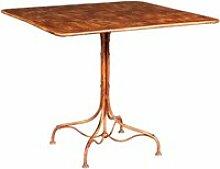 Table en fer forgé avec finition rouge antique