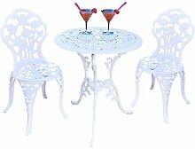 Table et 2 chaises meubles en aluminium blanc