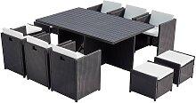Table et chaise 10 places encastrables alu résine