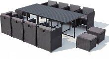Table et chaise 12 places encastrables alu résine