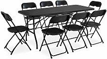 Table et chaise pliante - Noir - Ensemble de