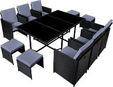 Table et chaises 10 places en résine tressée