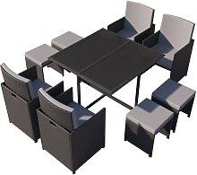 Table et chaises 8 places en résine tressée noir