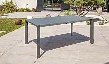 Table extensible alu et verre anthracite 180/250