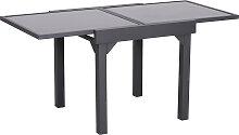 Table extensible de jardin grande taille gris noir